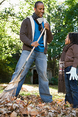 rake fall leaves for compost
