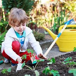 child gardening in spring